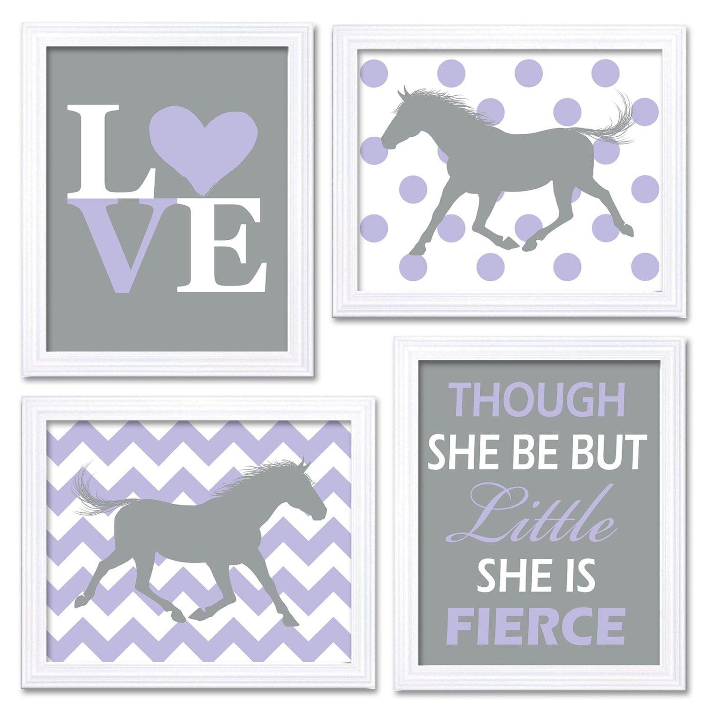 Horse Nursery Art Purple Grey Prints Set of 4 LOVE Though She be but Little She is Fierce Chevron Po
