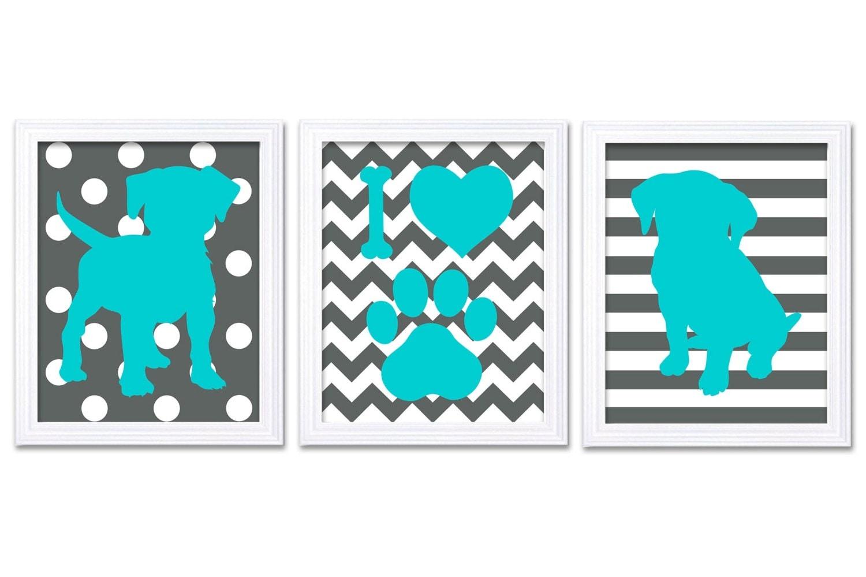 Puppy Dog Nursery Art Puppy Prints Set of 3 Prints Turquoise Blue Dark Grey Stripes Chevron Polka Do