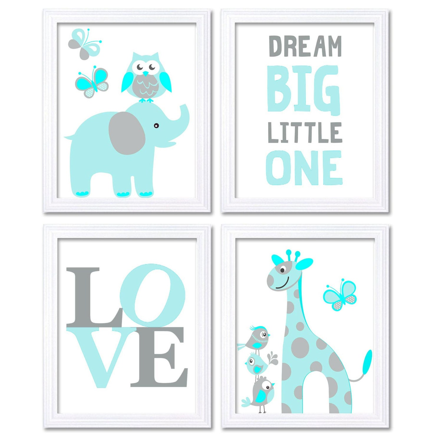 Blue Turquoise Aqua Elephant Giraffe Owl Nursery Art Dream Big Little One LOVE Set of 4 Prints Child