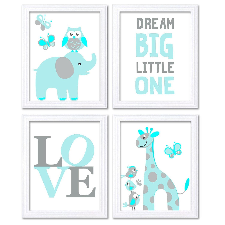 Blue Turquoise Aqua Elephant Giraffe Owl Nursery Art Dream Big Little One LOVE Set of 4 Prints Child