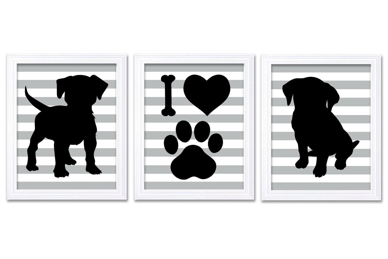 Puppy Dog Nursery Art Puppy Prints Set of 3 Prints Black Gray Grey Stripes Baby Wall Decor I Love Do