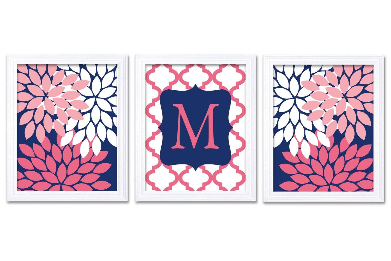 Hot Pink Navy Blue Nursery Art Set of 3 Prints Custom Letter Monogrham Chrysanthemum Flowers Baby Gi
