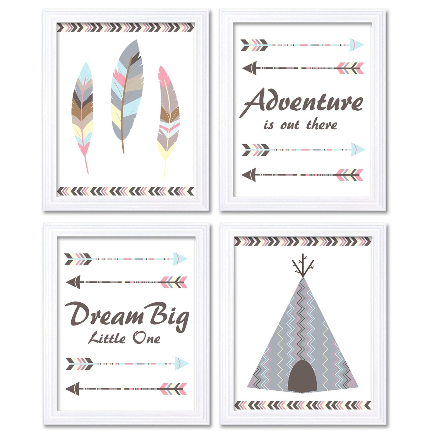 Tribal Nursery Art Print Set of 4 Wall Decor Adventure is Out There Dream Big Little One Teepee Tent