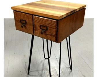 Vintage oak wood catalog drawer table with reclaimed wood top
