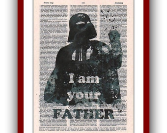 Darth Vader Print 10 I Am Your Father  Star Wars Poster Watercolor Art Print 8x10  upcycled  dictionary pages  Art Print Wall Decor