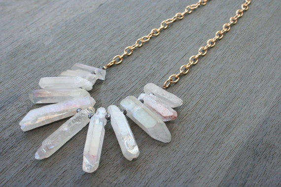 White Quartz, Hematite and Gold Statement Necklace // Bridesmaid // Gifts for Her // Stocking Stuffer
