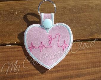 Cat Heartbeat Key Fob design Instant Download