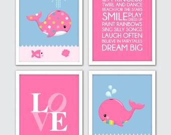 Whale Nursery Print Set, Whale Baby Nursery, Whale Wall Print, Nursery Whale Art, Whale Art For Baby, Whale Prints, Whale Nursery Set