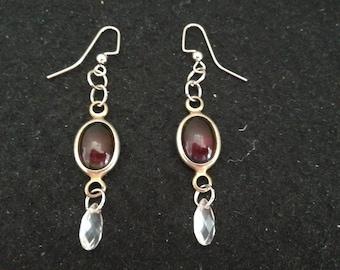 Red Rainbow Glass Dangle Earrings