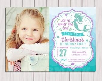 Mermaid Birthday Invitation, Little Mermaid Party Invite Under the sea, Mermaid Glitter Printable Invitation, 1st Birthday Instant download