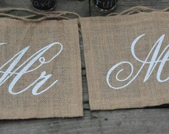 Burlap/hessian Script Mr & Mrs chair sign/banner