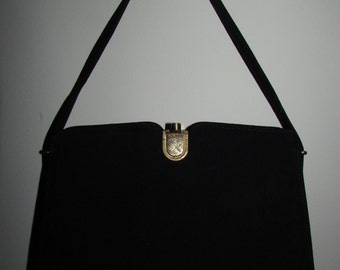 Vintage Bonwit Teller Block Handbag Purse Black Suede
