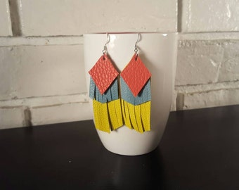 Yellow, blue and coral leather earrings.