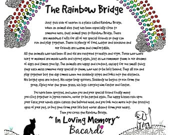 The Rainbow Bridge Poem. Personalize this print with your pet's name.