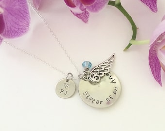 Sister of an Angel necklace, hand stamped, always in my heart, name necklace, RIP