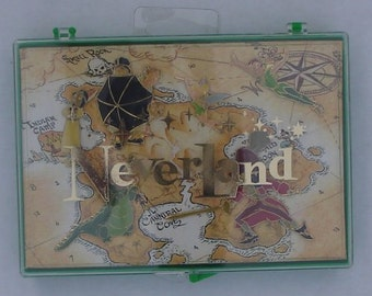 Disneys Never Land (Peter Pan) Set Of (6) Enameled Pins In Designer Case