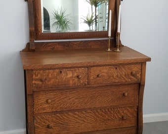 PICK UP ONLY - Antique Tigerwood Oak 4 Drawer Dresser with Mirror