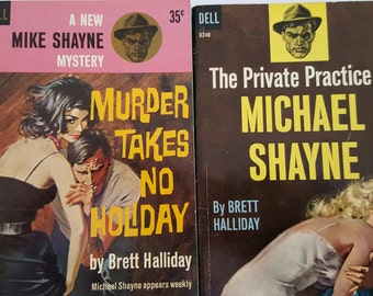 Vintage 1960 First Dell Books printing of Pulp Fiction/crime novels 2 titles Mike Shayne Mystery. Brett Halliday