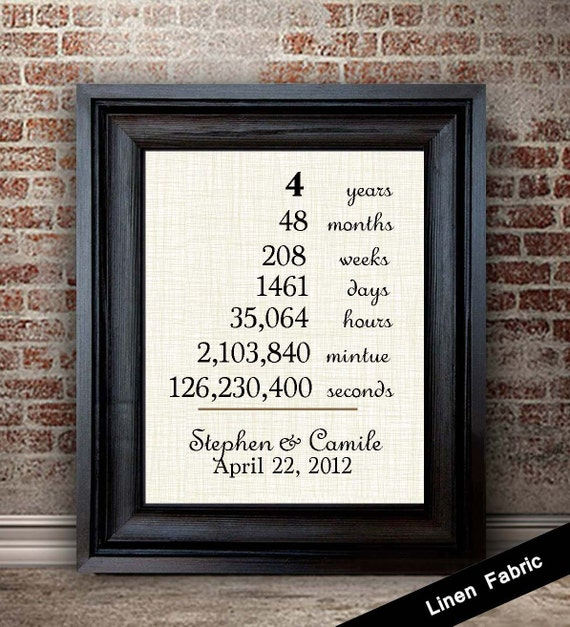 Wedding Gifts For 4 Years : Year Anniversary Gift Linen Anniversary Gift Gift for Couples ...