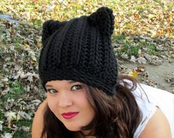 Cat Ears Beanie, Black Cat Hat, Crochet Ribbed Cat Ears, Trending Winter Hats, Chunky Cat Hat