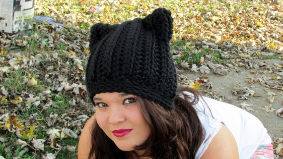 Cat Ears Beanie Black Cat Hat Crochet Ribbed Cat Ears