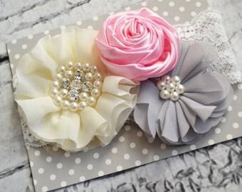 Trio Headband- Cream and Pink- Baby Girl Headband- The Simply Chic Baby