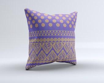 Tall Purple & Orange Vintage Pattern ink-Fuzed Decorative Throw Pillow
