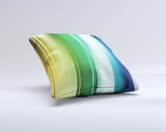 Neon Horizontal Color Strips ink-Fuzed Decorative Throw Pillow