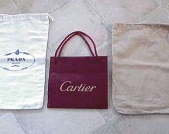 3 Authentic Logo Dust Cover Sleeper Bags –Prada-Sergio Rossi 2 for Handbag or Shoes and 1 Cartier Carry Bag