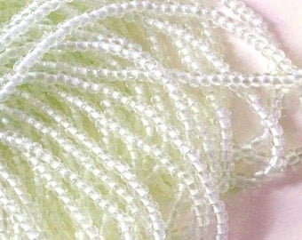 """White Lined Glow in the Dark 6/0 Czech Seed Beads, 3/20"""" 4mm Halloween Beads, Preciosa Glow in the Dark Seed Beads"""