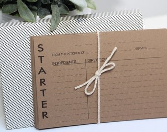 Modern Style Recipe Cards - 10 Recipe Cards, Brown Kraft Colored With Envelope