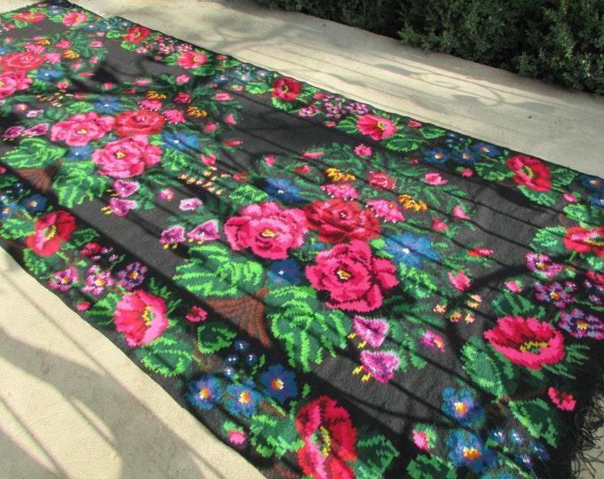 Bessarabian Kilim. Vintage Moldovan Kilim,Floor Rugs Handmade 45 years old, handmade. Floral Rugs Carpets, Eco-Friendly. Mosh