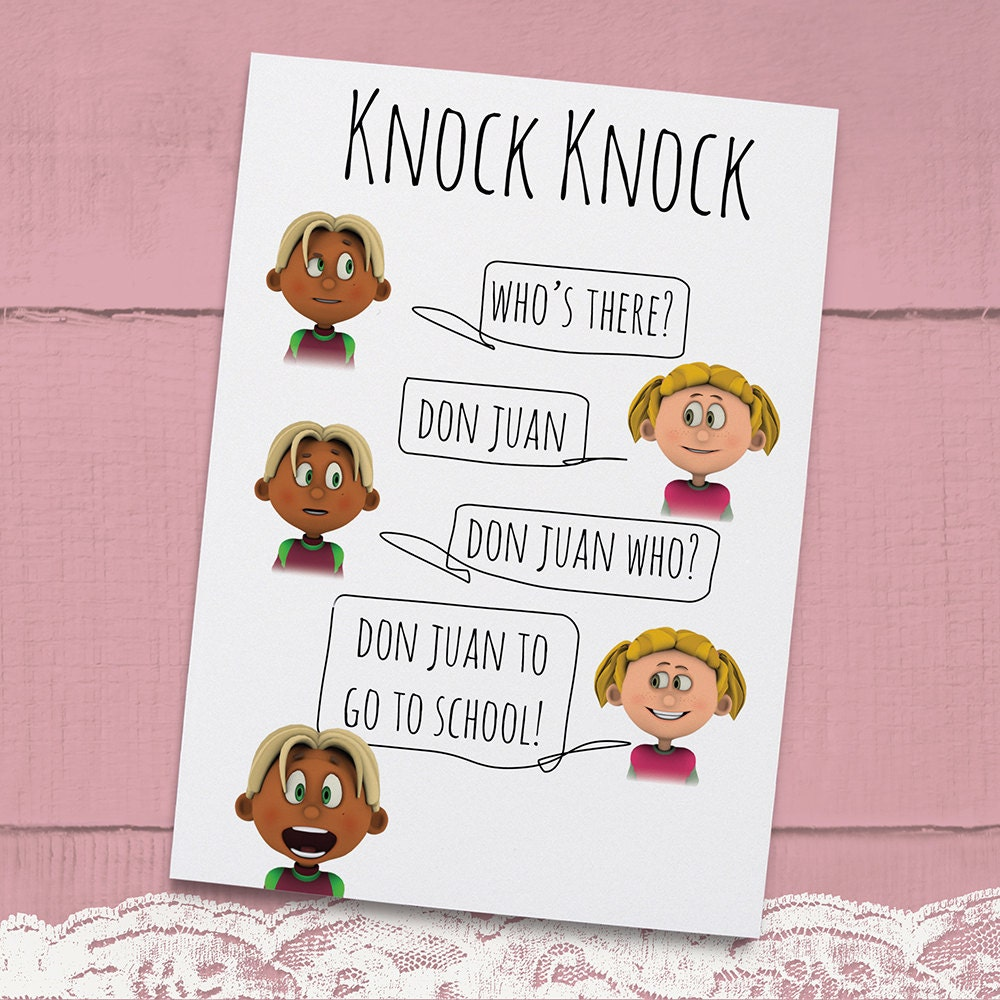 Knock Knock Ya Who Joke Greeting Card For Kids Instant: Knock Knock Joke Don Juan Joke Printable By AwayWithThePixels