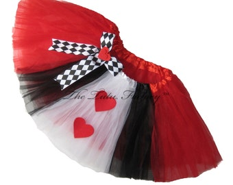 QUEEN of HEARTS Tutu . INFANT to 6X .Alice in Wonderland