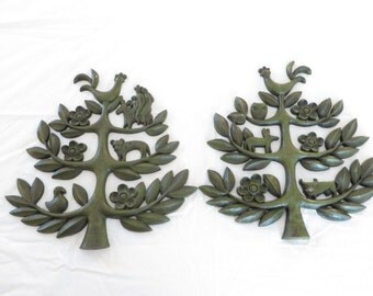 Vintage Avocado Green SYROCO Tree of Life Wall Plaques -  Green Syroco Trees 1963