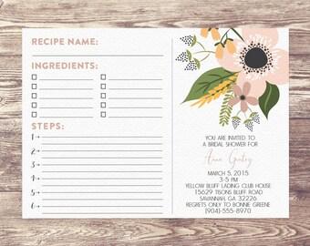 Printed Bridal Shower Recipe Card Invitation, Recipe Book, Custom Personalized, Recipe Cards for Bridal Shower, Bridal Shower Invitation