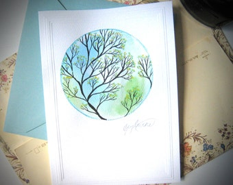 Hand-Painted Art Card in Blue and Green