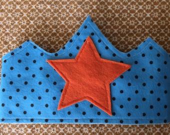 Children's Felt Crown, blue with black polka dots and orange star
