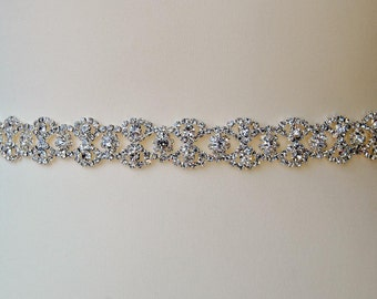 Thin Full Length Bridal Belt Sash Rhinestone Belt Sash Flower Girl Bridesmaid Gift Sash belt Crystal Dress Sash Belt