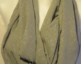 Dove Gray sparkly infinity scarf silver, Birthday gift scarf, Wedding scarf