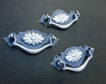 Reclaimed Antique Drawer Pulls - Distressed Shabby Chic Grey And Silver