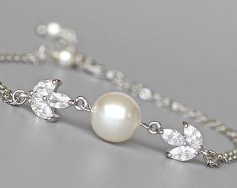 Pearl and Crystal Bracelet, Pearl & Crystal Bridal Bracelet, Rose GOLD and 18K GOLD Option , Bridesmaid Bracelet