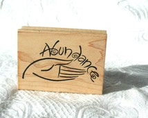 Abundance Rubber Stamp, DUcks in a Row, Wood Mounted, Inspiration, Inspirational Message, Hand Abundance, Prosperity, Motivation Stamp
