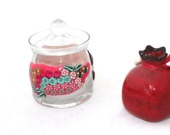 Jewish New Year Gift, Rosh Hashana, personalized jewish gift, Honey Pot,  Glass Honey Jar, Sugar Jar, Honeypot, Glass Jam Jar, Lidded Jar,