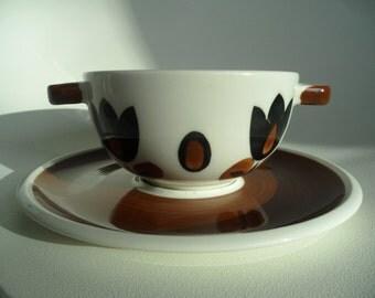 Boch Belgium soup bowl,ceramic soup cup,Kimono design,soup cup with handle,Vintage ceramic soup bowl,collectible pottery