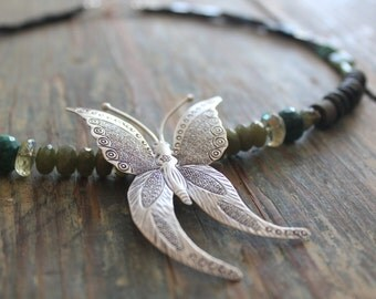 "Pure silver necklace, Forest Green, Emerald and Seraphinite Butterfly Necklace ""Emerald Isle""."
