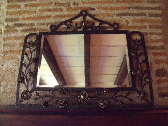 Art nouveau french mirror brandt style antique wrought for Miroir art nouveau