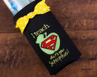 Teacher Gift, Water Bottle Coozie, Coozie, Teacher Present, Secret Santa Gift, Teacher Gift Under 15