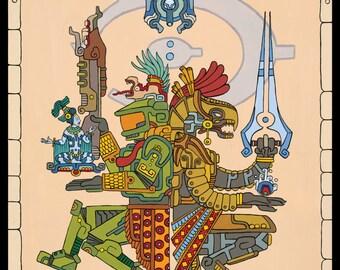 "Master Chief and Arbiter Inspired Art Prints, ""Gods Among"", 16x20 or 11x14 art print, Halo, Cortana, 343 Guilty Spark, Maya, Mayan"
