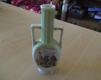 antique green vase or urn - dolls house